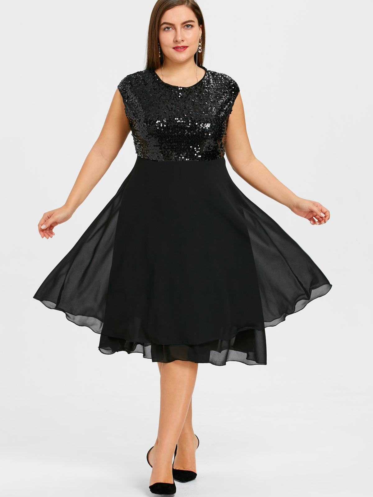 4a842ae4ebf74 US $33.68 |Wipalo Plus Size Sequins Women Dress Solid Black Flounce Chiffon  Dress Glitter Summer Sparkly Sleeveless Vintage Party Dresses-in Dresses ...