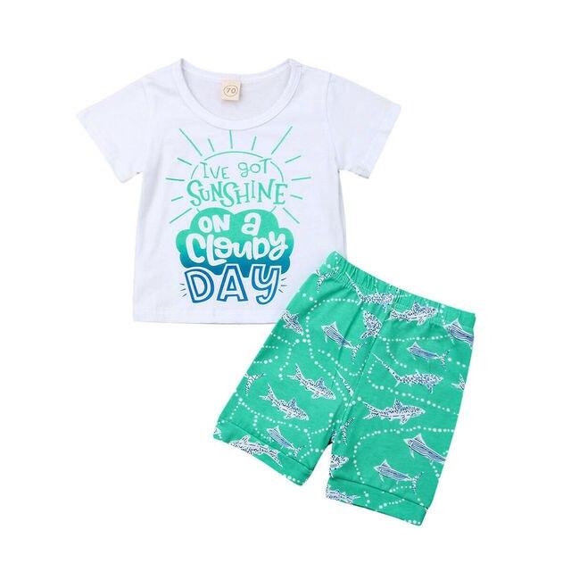 67eb2b70 New Toddler Baby Boy Hawaii Clothes Outfits Sets Kids Short Sleeve T-Shirt  + Sun