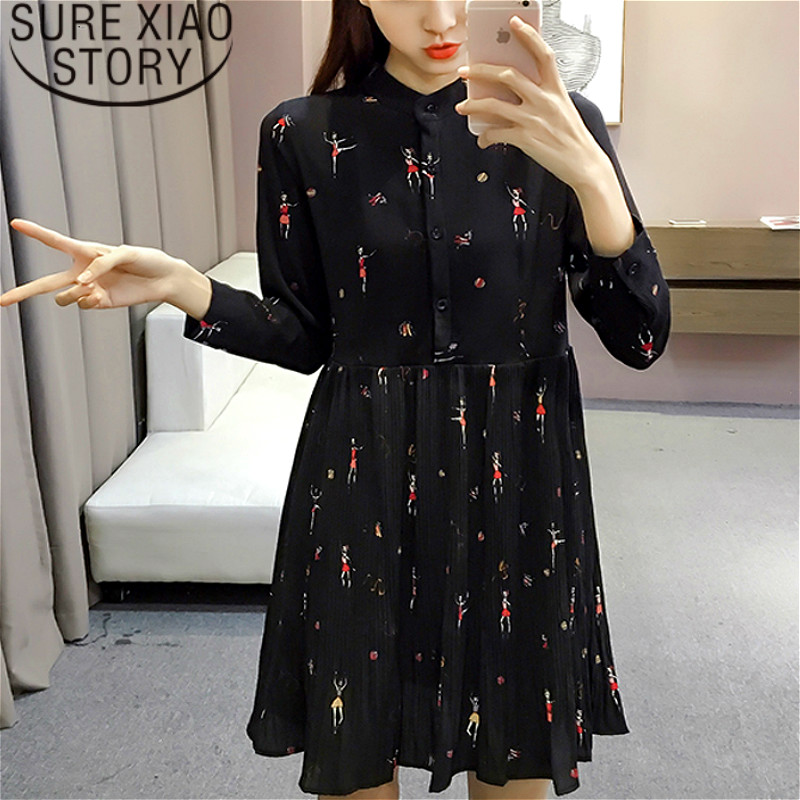 Fashion Woman Dresses 2019 Spring Long Sleeve Print Chiffon Dress Women Plus Size Empire Button Pleated Women Dress 2186 50
