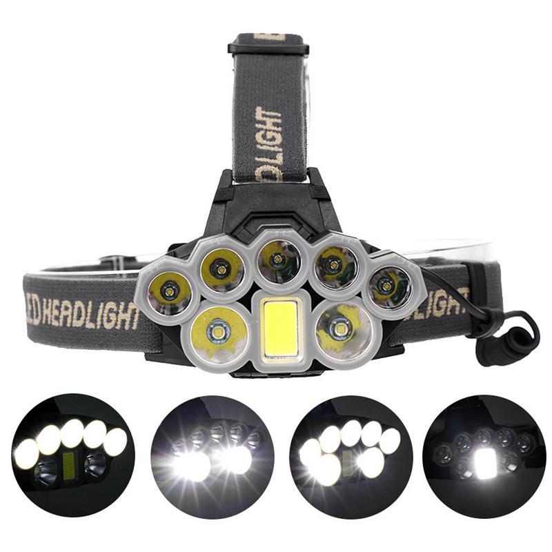 Ultra Bright 90000 Lumens 2*T6 + 5*XPE + 1*COB LED Headlights USB Rechargeable Waterproof Hunting Hiking Fishing Zoom Head Lamp
