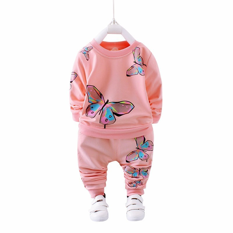 2019 Spring Autumn Girl Clothing Casual Baby Clothes Children Suit Infant Cartoon Butterfly Sweatshirts Sports Pants Kids Sets An Indispensable Sovereign Remedy For Home