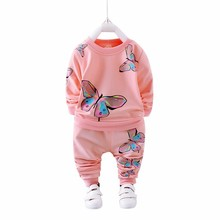 цены 2019 Spring Autumn Girl Clothing Casual Baby Clothes Children Suit Infant Cartoon Butterfly Sweatshirts Sports Pants Kids Sets