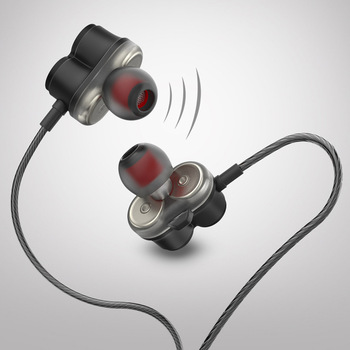 In Ear Headphones Earbuds with Mic Dual Drivers Earphones Stereo Hifi Audio and Bass Slide Volume Controls 3.5mm Jack Wired He