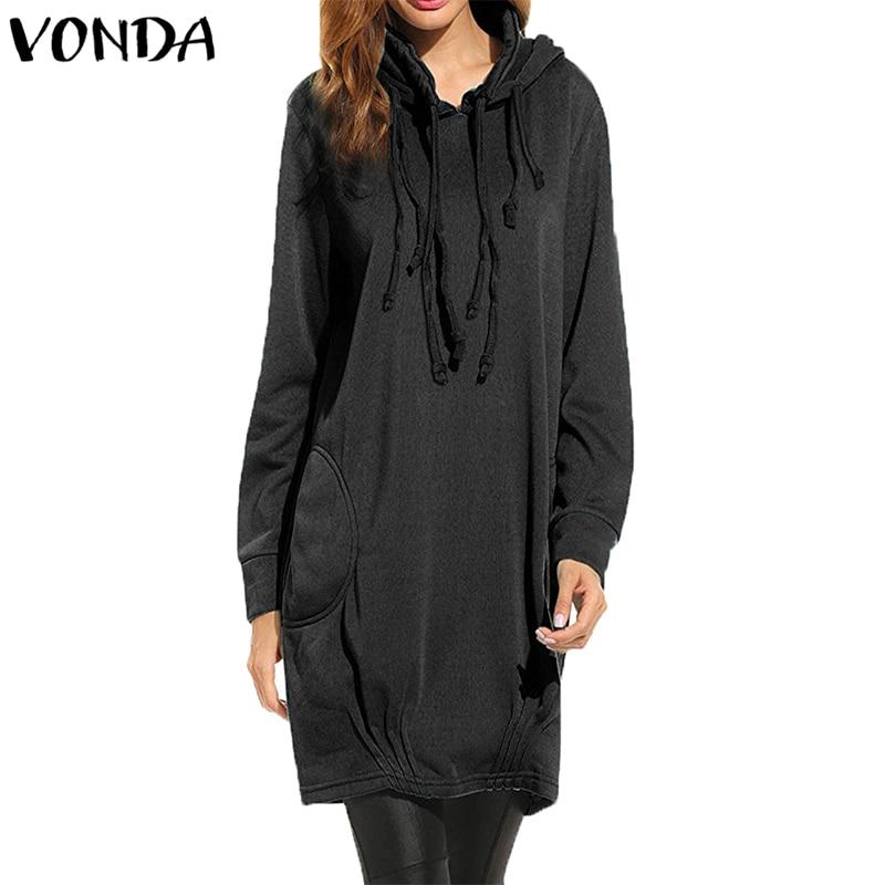 2019 robe à capuche femmes décontracté lâche à manches longues solide pull Long sweat avec poches Vintage capuche hauts Blusas