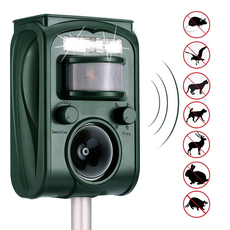 Outdoor Garden Solar Ultra Sound Outdoor Animal Repeller Motion Sensor Flash Light Bird Dog Cat Raccoon Rabbit Animal Dispeller
