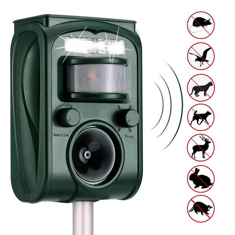 Outdoor Garden Solar Ultra Sound Outdoor Animal Repeller Motion Sensor Flash Light Bird Dog Cat Raccoon Rabbit Animal Dispeller