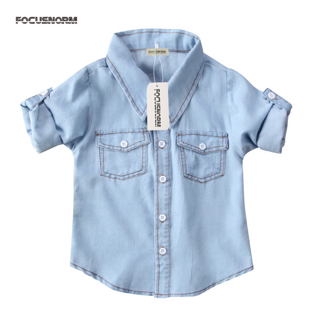 141245393 2018 Hot sell Baby boys Girls Fashion Denim blue Shirt Summer ...