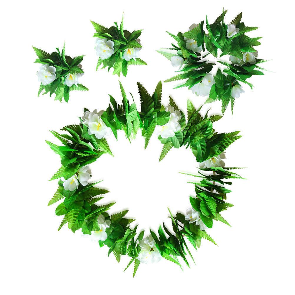 4 шт./компл. моделирование зеленые листья Цветочная Гирлянда Гавайская гирлянда цветов цветок Цепочки и ожерелья Браслеты венок Головные уборы дополнения к костюму на вечеринку