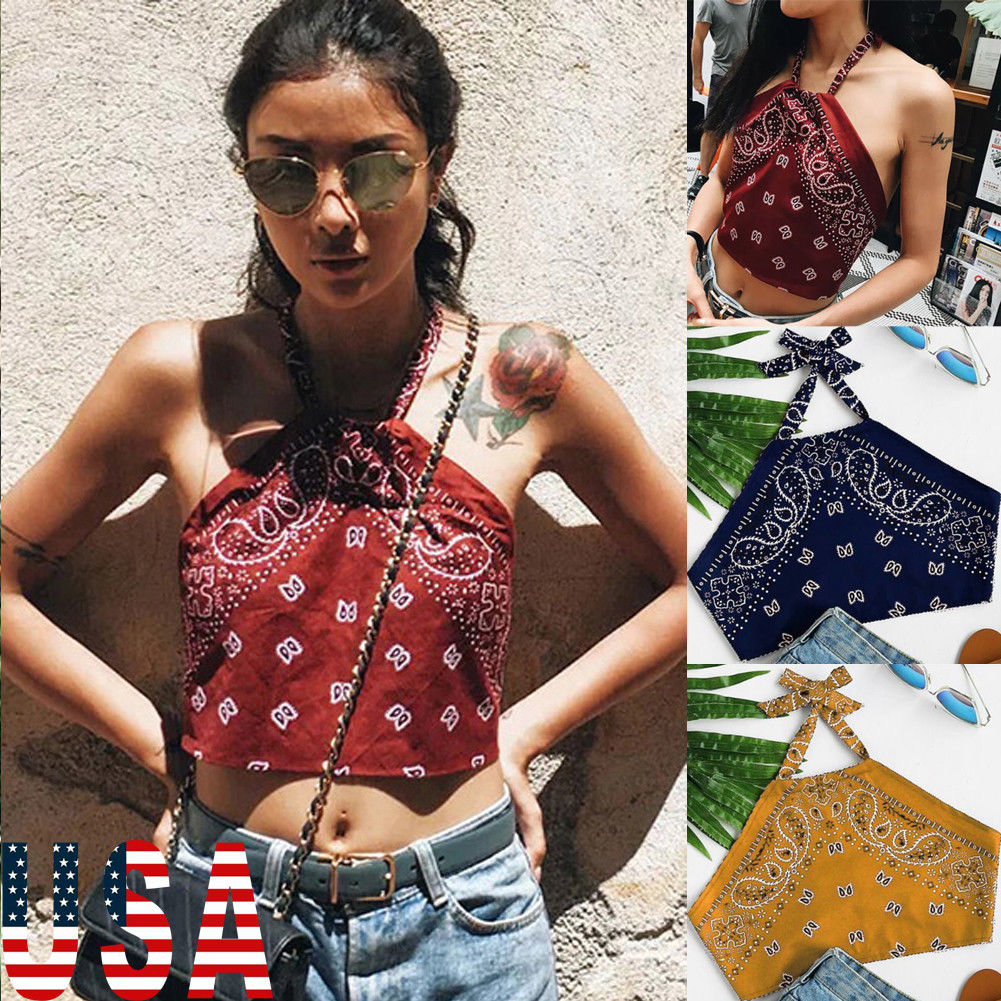 Hot Sale Women Girls Fashion Casual Summer   Tank     Top   Off Shoulder Halter Floral   Tank     Tops   Vest Crop   Top