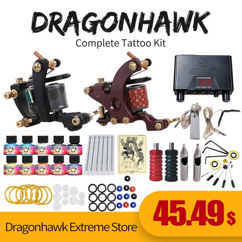 Anfänger-Tattoo-Starter-Kits 2 Pistolen-Maschinen 10 Tintensets Stromversorgung Einweg-Nadelpedal-Tipps