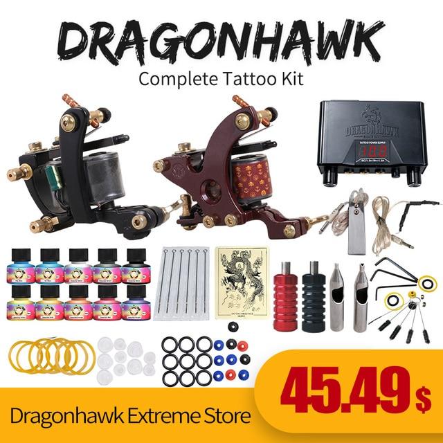 Beginner Tattoo Starter Kits 2 Guns Machines 10 Ink Sets Power ...