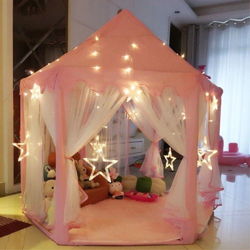 140x135 cm Grand Princesse Château Tulle Enfant Maison de Vente de Jeu Jouer Tente Yourte Créative Développer En Plein Air Lumières Intérieures boules Jouets