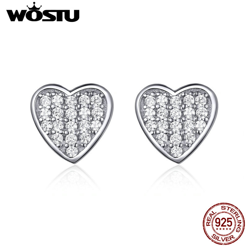 32c5e03c90e7 Cheap WOSTU coreano de moda de plata esterlina 925 amor corazón pequeño  Stud pendientes para las