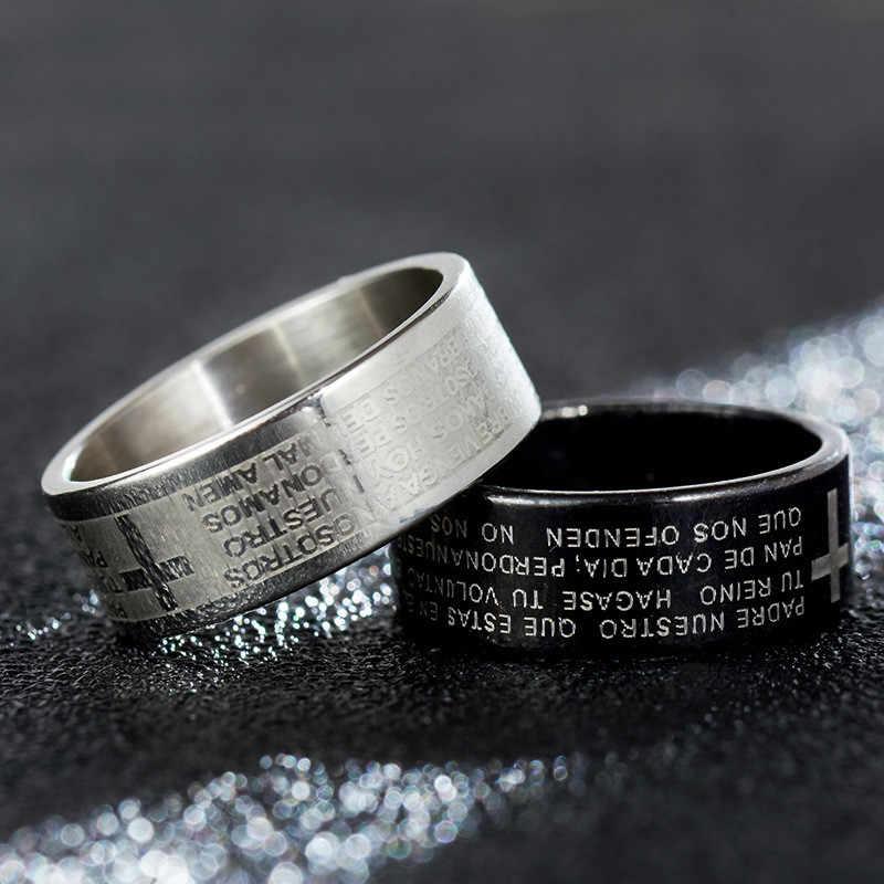 Letra anillos de acero de titanio para hombres Jesús oro rosa/anillo negro para mujeres anillos de amante chapados en plata anillo de joyería de promesa de boda