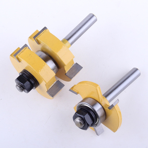 """Image 4 - Jeu de mèches de toupie 1 à 1/4 """", outil de coupe du bois, 2 pièces, tige de 8mm, pour lassemblage de la languette et de la rainure CHWJW"""