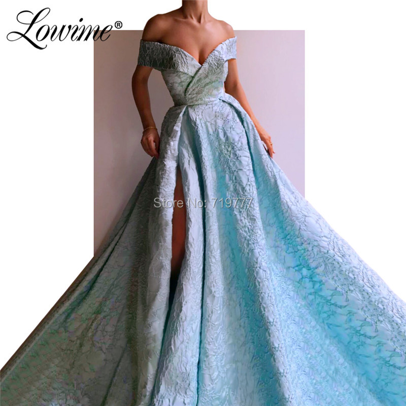 Islamic Dubai Saudi Arabic High Slit   Prom     Dresses   Muslim Evening   Dress   Pageant Gowns 2019 Off the Shoulder Formal Long   Dresses