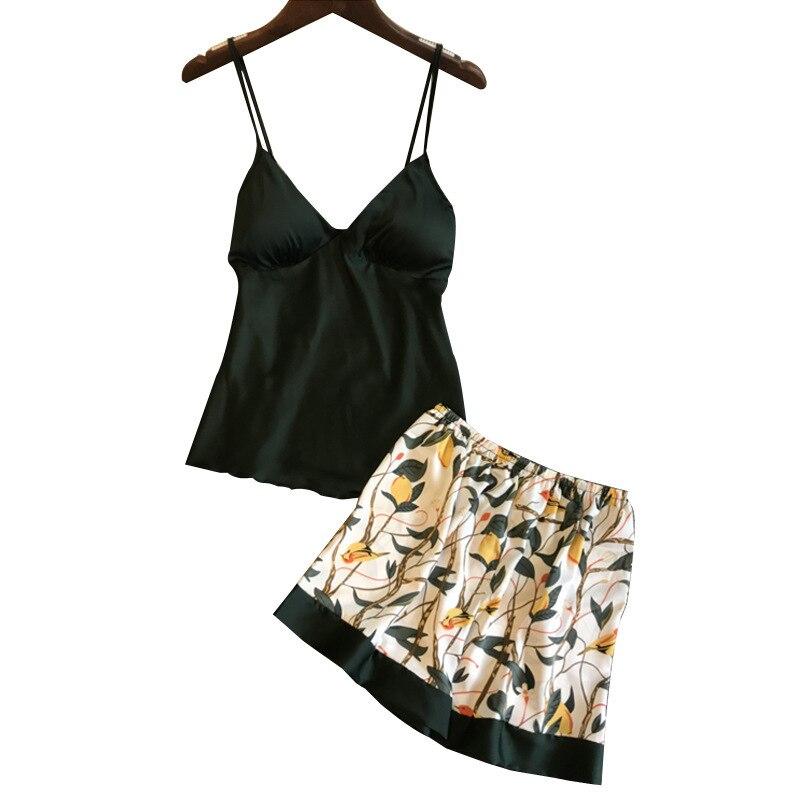 Lisacmvpnel Sexy Printing Spaghetti Strap Women Shorts   Pajama     Set   Ice Silk With Chest Pad Female Sleepwear