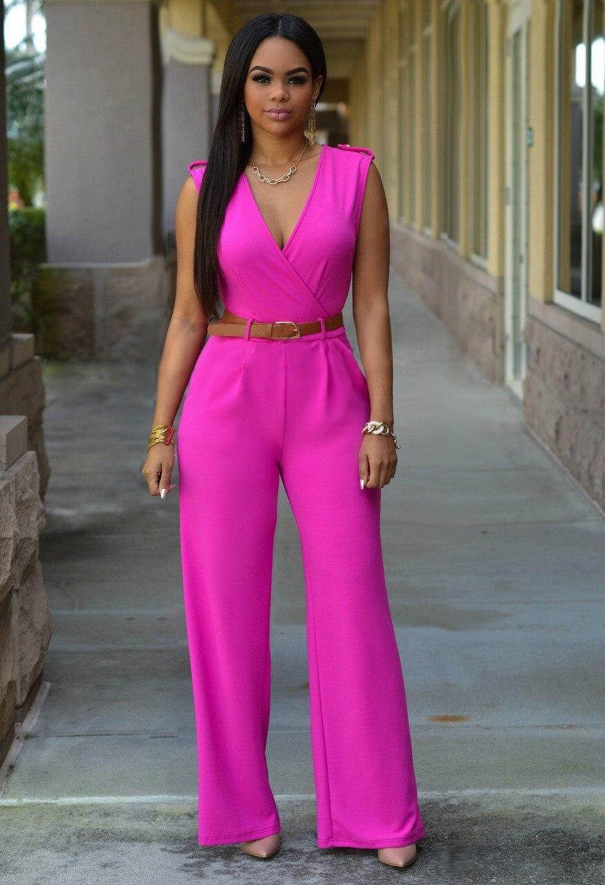 Wide-Leg Jumpsuit Streetwear-Belt Party Rompers Women Loose V-Neck Casual Feminino Summer