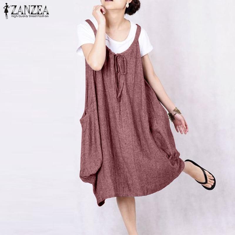 2019 Summer ZANZEA Women Dress Ladies Overalls Dresses Casual Baggy Sleeveless Vestidos Big Pockets Party Robe Femme Plus Size