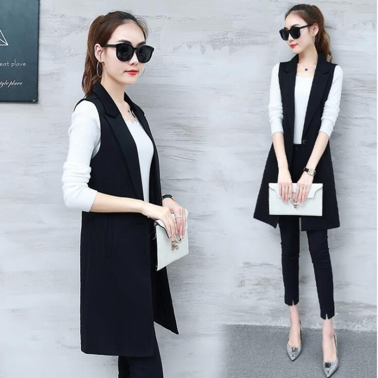 0703 2019 Summer Slim Grey Black Sleeveless Blazer Vest Fashion Long Cardigan Vest Sleeveless Coat Outerwear Waistcoat Female in Vests amp Waistcoats from Women 39 s Clothing