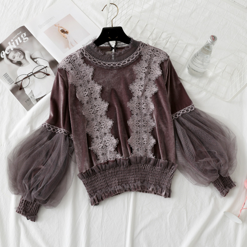 Fall/winter Women Velvet Lace Splice Shirt Feminine Pullover Yarn Lantern Sleeves Fits Ladies Lacework Mesh Lengthy-Sleeved Shirt