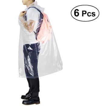 6 uds chubasqueros desechables poncho impermeable transparente impermeable con capucha cordón elástico manga para adultos de las mujeres de los hombres