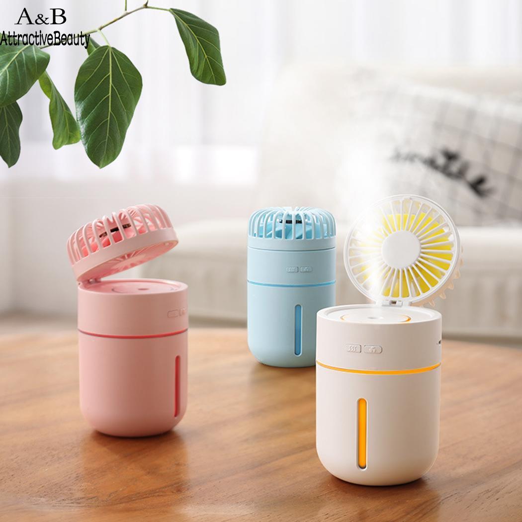 Mini Humidifying Fan Air Humidifier 400ML USB Aroma Essential Oil Diffuser Portable Table Fan