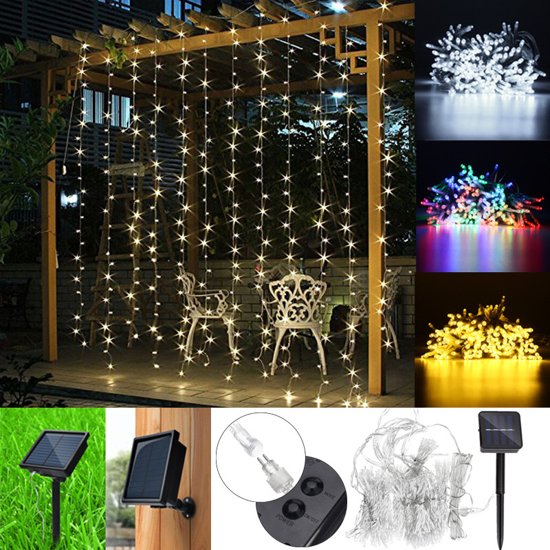 300 LED String Light Solar Powered LED String Fairy Lighting Curtain Light Lamp 8 Functions Outdoor Garden Christmas Party Decor