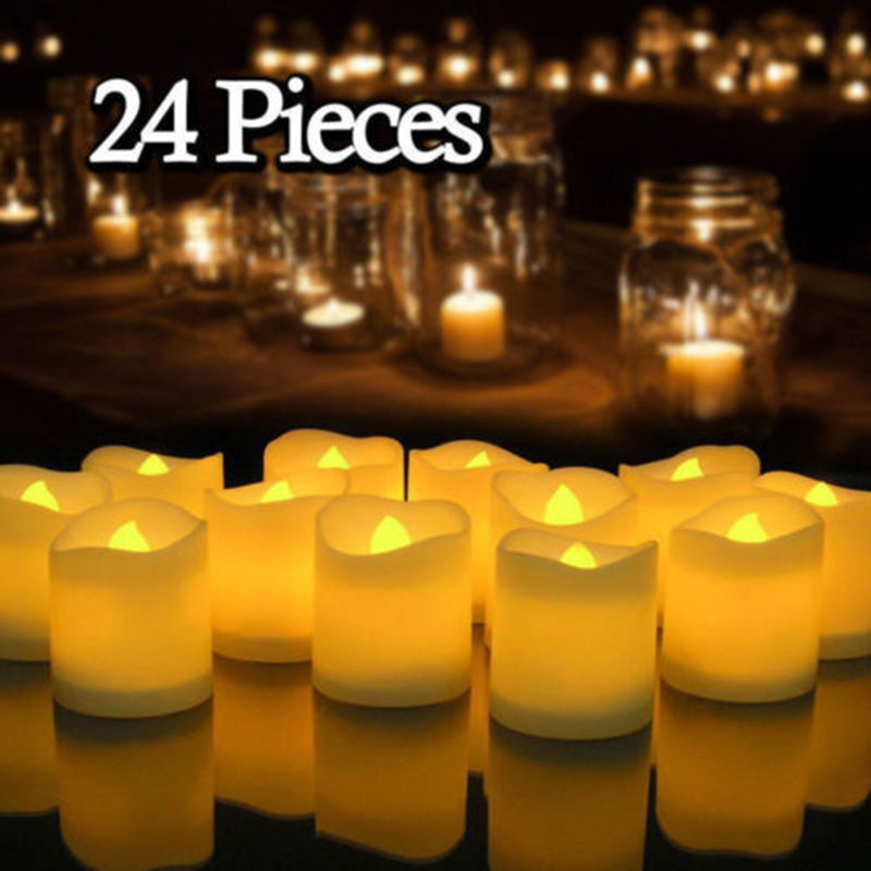 12/24Pcs Creative LED Candle Lamp Battery Powered Flameless Tea Light Home Wedding Birthday Party Decoration Supplies Dropship