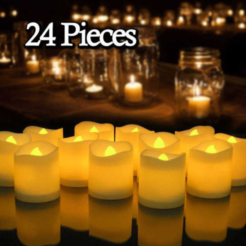 12/24Pcs Creative LED Candle Lamp Simulation Color Flame Tea Light Home Wedding Birthday Party Decoration Supplies Dropship