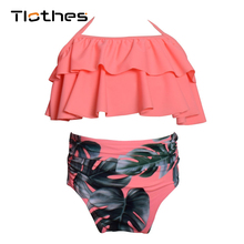 Toddler Kids Swimming Girls Baby Girls High Waist Bikini Set Flounce Print Swimwear 2019 Summer Beach Cute Swimsuit Bathing Suit недорого