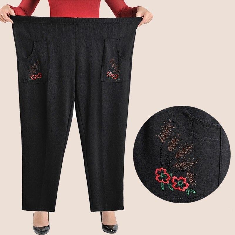 XL-8XL Autumn Winter Women Trousers High Waist Casual Embroidery Female Warm Velvet Straight Pants Pantalon Femme Plus Size
