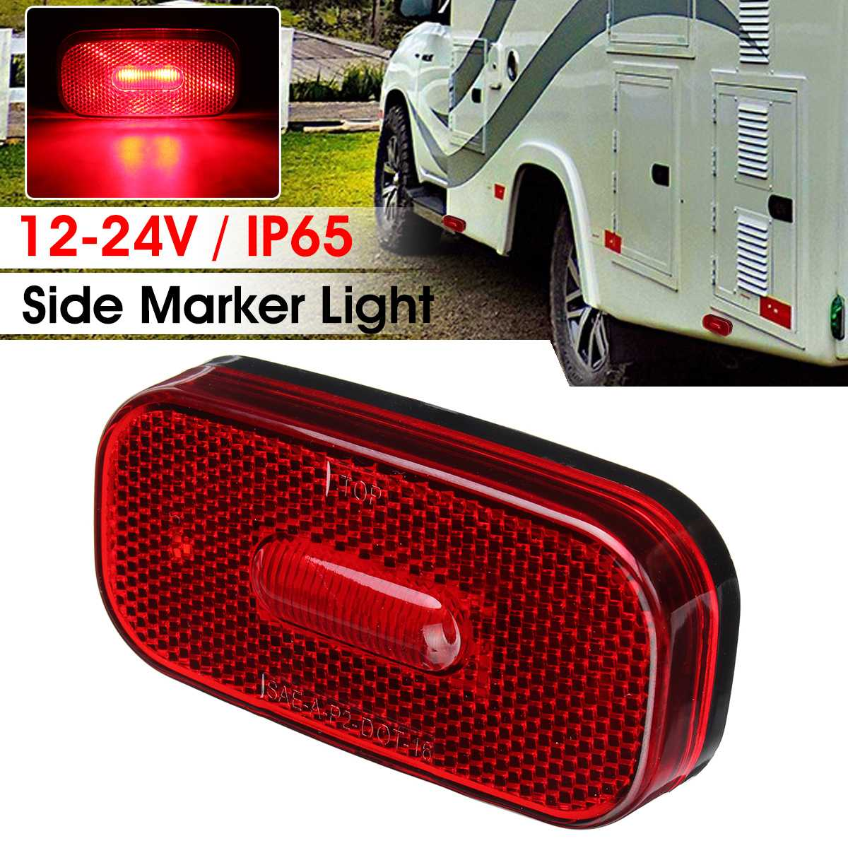 Car LED Side Marker Lights Red Caravan 12-24V 2 LEDs Clearance Indicator Lamp For Truck Trailer Lorry