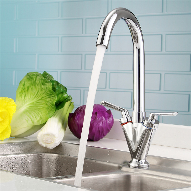 Xueqin Chrome Kitchen Double Handle Sink Faucet Deck Mounted Bathroom Mixer Hot And Cold Water Tap 360Rotation SpoutXueqin Chrome Kitchen Double Handle Sink Faucet Deck Mounted Bathroom Mixer Hot And Cold Water Tap 360Rotation Spout