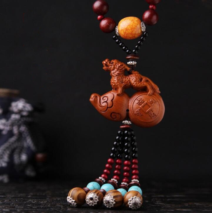 Chinese Peach Wood Carved Safe And Good Luck Word Animal Pixiu Brave Troops Gourd Cucurbit Exquisite Car Pendant Statue|Statues & Sculptures| |  - title=