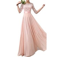 Women's Lace Chiffon A line Long Above Knee, Mini Dress Wedding Bridesmaid Gown