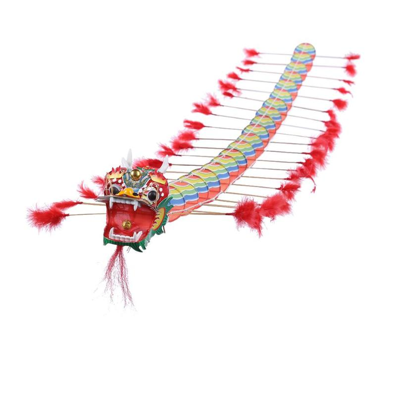4m Chinese Traditional Dragon Kite Plastic Foldable Children Outdoors Toys Vivid Dragon Design Suitable for Flying in Open Areas