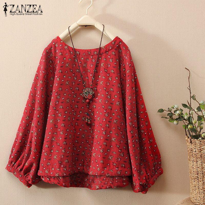 ZANZEA 2019 Vintage Print Women Linen Blouse Female Lantern Sleeve OL Work Blusas Elegant Kaftan Tunic Tops Oversized Shirts Tee