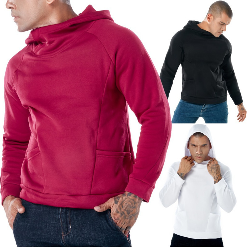 Mens Solid Color Long Sleeve Hooded Sweatshirts For Hoodie Men Casual Fashion Hoodies 3 Colors
