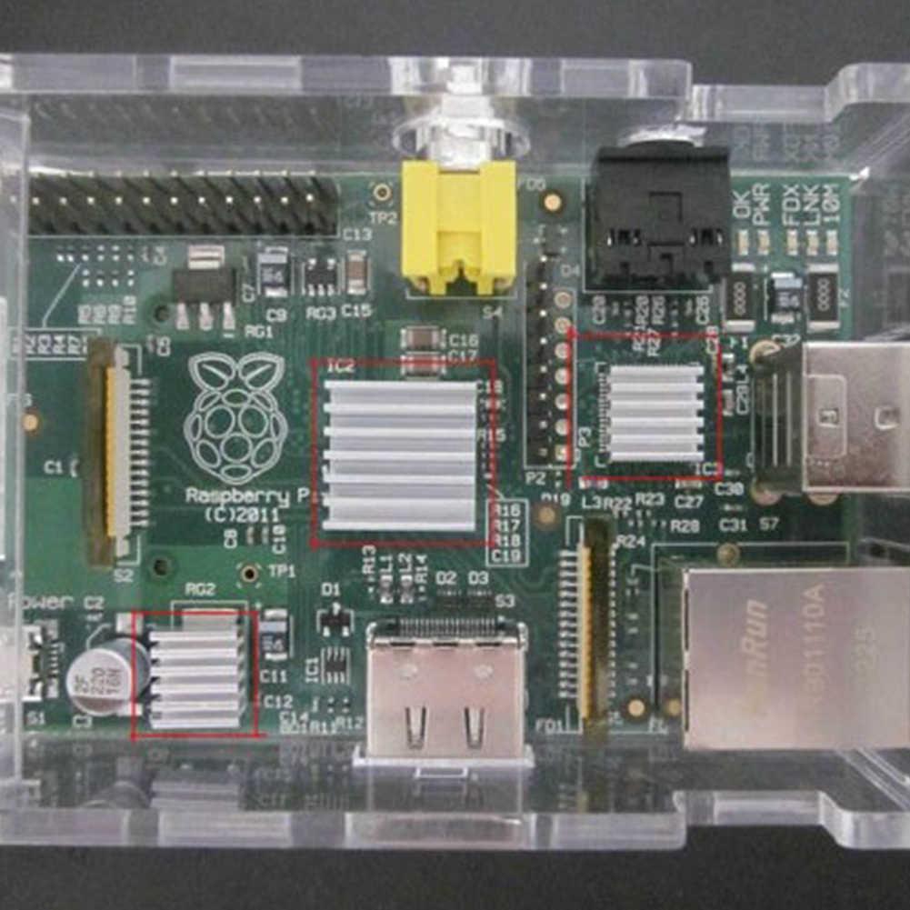3 sztuk/zestaw jeden zestaw radiator aluminiowy Cooler zestaw samoprzylepny mikrokomputer części do chłodzenia Raspberry Pi zestaw akcesoriów