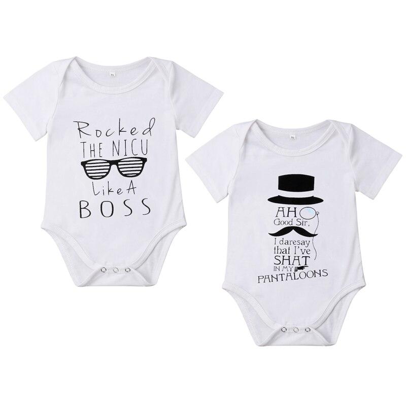 0-18 Mt Neugeborenen Baby Junge Mädchen Kurzarm Print Baumwolle Romper Overall Outfits Casual Baby Kleidung