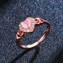 Heart-shaped Crystal Quartz Diamond Ring Micro-inlaid 14K Anillos De Rose Gold Ornaments Bizuteria Bague Etoile for Women Rings