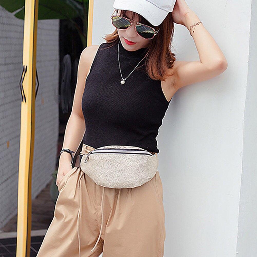 Women Waist Packs Clear Glitter Waist Belt Bum Bags Pouch Hip Purse Travel Solid Casual Sport Bag