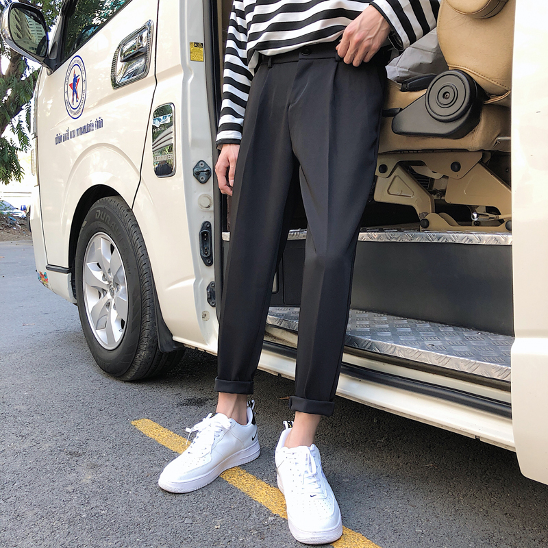 2019 Men's Fashion Trend Cotton Casual Harem Pants Black/white Color Brand Slim Fit High-quality Trousers Big Size S-3XL