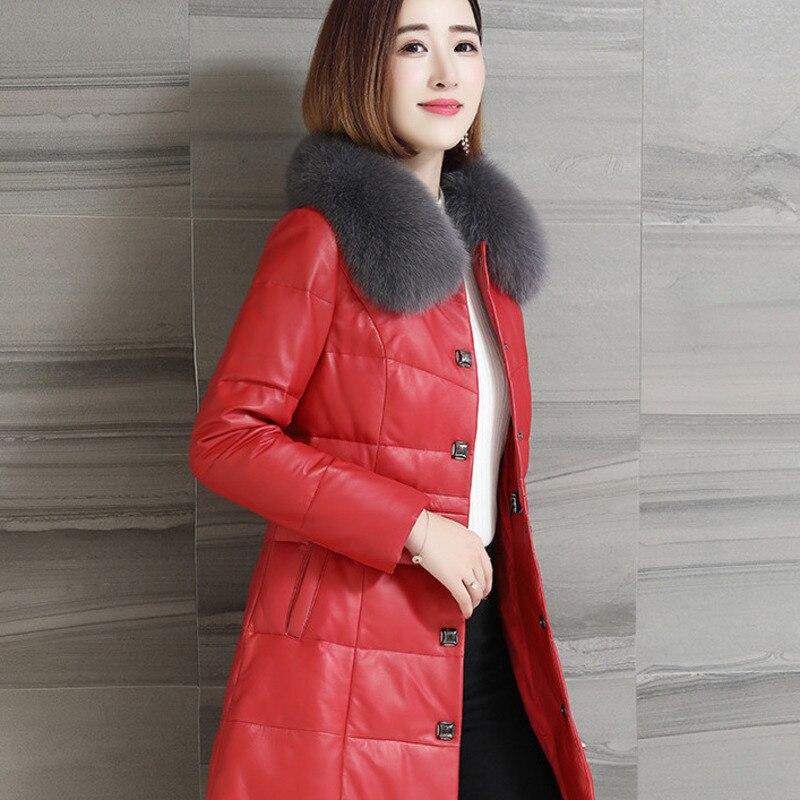 Renard Cheveux Supérieure Réel Veste Qualité Pardessus Slim Red Femmes Cuir black De Long Élégant D'hiver Hauts Canard Duvet Vêtements 2019 Col En J428 Withe pHOxq7OIw