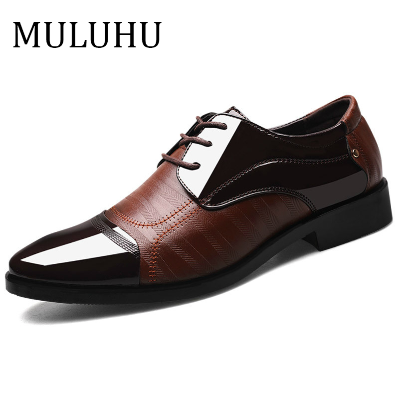 MULUHU Spring Autumn Men Shoes Leather Business Oxford Leather Shoes Office Wedding Lace Up Flat Shoes Plus Size 38-48