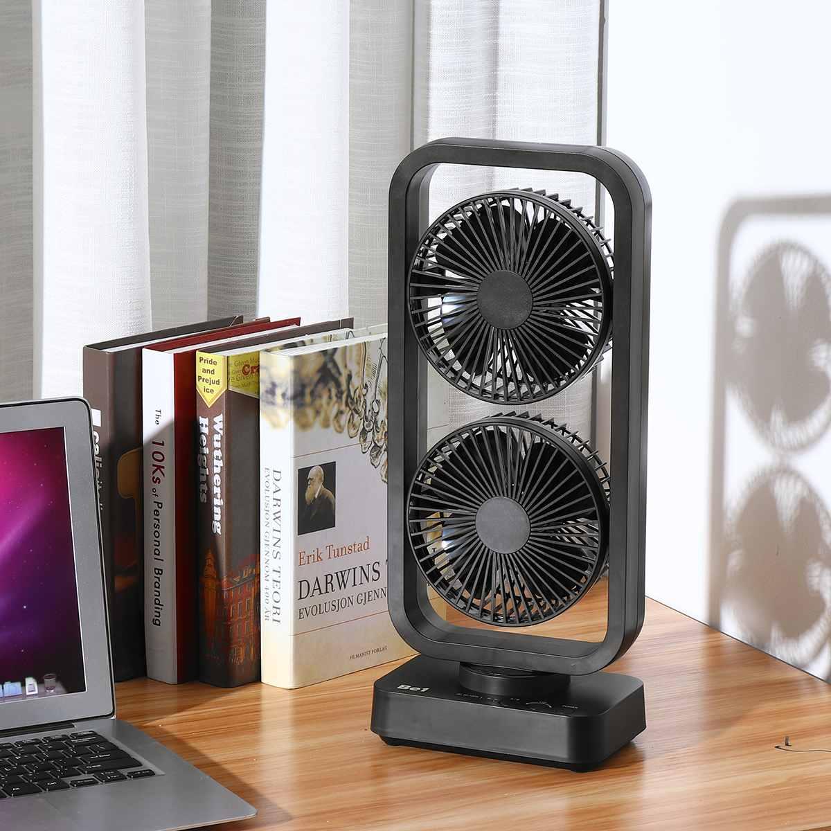 Double Tour Ventilateur ventilateur usb Secouant La Tête 10000 mAh batterie rechargeable De Bureau Bureau 40 cm x 17 cm x 10.7 cm