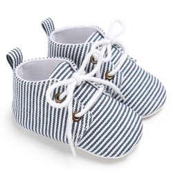 Высокое качество новорожденных детская обувь простой полосатый первые ходунки высокий каблук на шнуровке детские мягкие на шнуровке