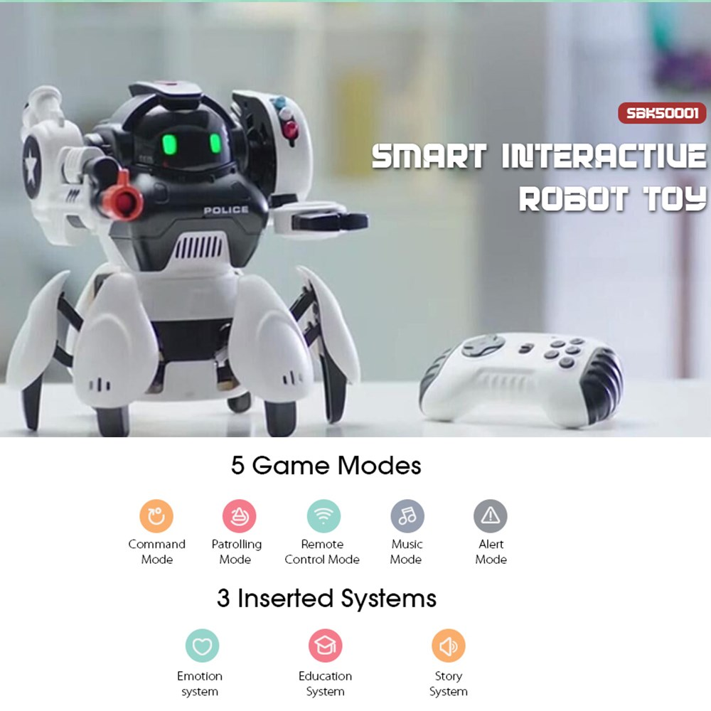 JJRC Smart Robot Gesture Remote Control Electric Toy Doll English Version Patrol Obstacle Avoidance Singing Dancing RC Robots