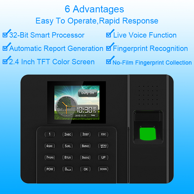 Eseye Biometric Fingerprint Time Attendance System TCP/IP Fingerprint USB Time Clock Office Employee Device Attendance Machine